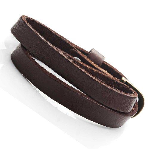 Atemberaubendes Dunkelbraunes Leder Wickel Armband Lederarmband für Sie und Ihn, Unisex (Größe einstellbar)