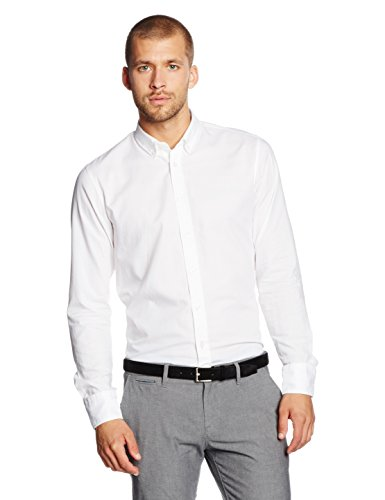 BOSS Orange Herren Freizeithemd Edipoe, Weiß (White 100), Medium