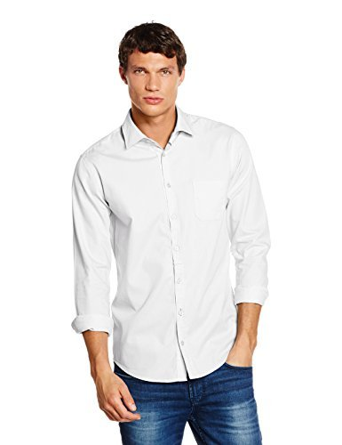 BOSS Orange Herren Freizeithemd EslimE_1, Weiß (White 100), Small