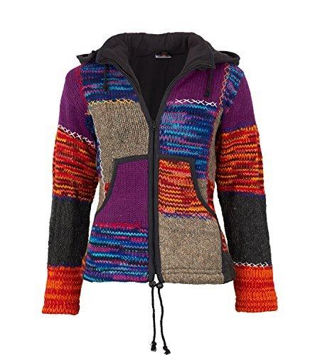 Damen Strickjacke Goa Wolle Jacke mit Fleecefutter und abnehmbarer Zipfelkapuze, Größe:44-46