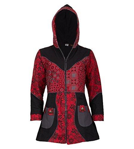 Damenmantel mit Kapuze Blumenmuster- Jacke Baumwolle, Größe:40, Farbe:Schwarz / Rot