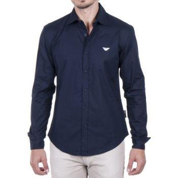 EMPORIO ARMANI Designer Shirt Hemd Slim Fit Gr M Fb. Navy