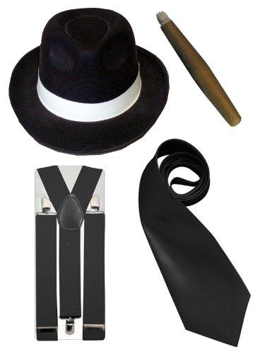 Gangster-Kostüm Herren - Hut/Krawatte/Hosenträger/Zigarre - 20er Jahre - Schwarz