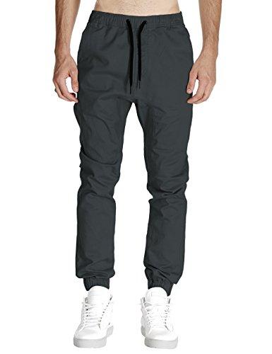 Italy Morn Herren Jogger Chino Hose Sweatpants Sporthose Jogging Baggy Jogginghose Slim Trainingshose Cargo Pants Twill Schwarz (M(Size32), Dunkelgrau)