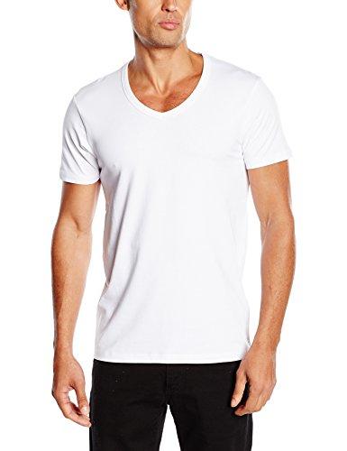 JACK & JONES Herren T-Shirt Basic V-neck Tee S/S Noos, Einfarbig, WeiÃY (Opt White), L