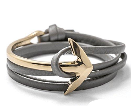 Leder Anker Armband / Goldverschluss / Schwarz und Rot / Accessoire / Kette für Männer und Damen - Viele Varianten Panelize C. & A. (Grau)