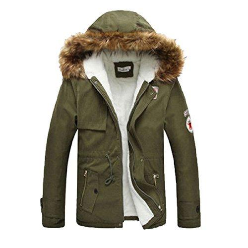 Meloo Winterjacke Herren Parka Jacke Kapuze Sweatjacke Steppjacke Sportjacke Wärmejacke Kapuzenparka Mäntel Outwear (M, Oliv)