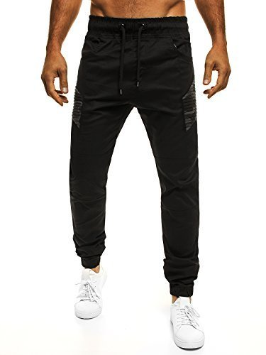 OZONEE Herren Jogger Chino Jogg Hose Baggy Sporthose Jogginghose Fitness ATHLETIC 706 SCHWARZ L