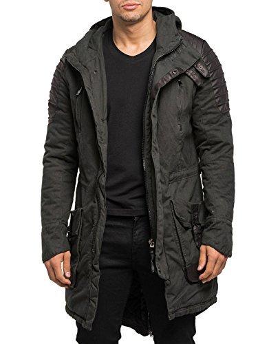 Burocs Herren Parka Winterjacke Gesteppt Lang Jacke Schwarz BR91, Größe:M, Farbe:Anthrazit