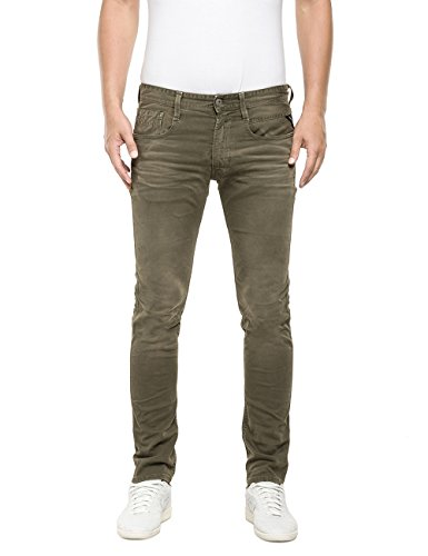 Replay Herren Slim Jeanshose Anbass, Gr. W32/L32 (Herstellergröße: 32), Grün (MILITARY GREEN 393)