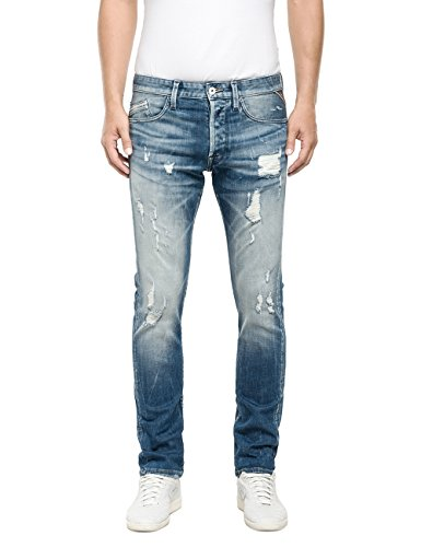 Replay Herren Straight Leg Jeanshose Waitom, Gr. W31/L32 (Herstellergröße: 31), Blau (Blue Denim 10)