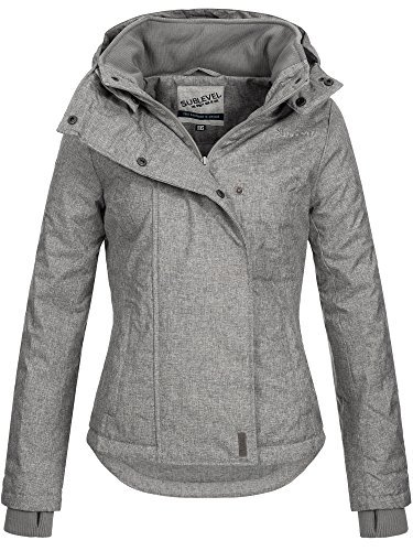 SUBLEVEL Damen Zipper Jacke mit Kapuze Steppjacke Stepp Winterjacke Jacke Damenjacke pencil grey M