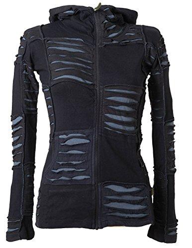 Vishes – Alternative Bekleidung – Damen Patchwork Jacke mit Cutwork und Zipfelkapuze Schwarz-Grau 38