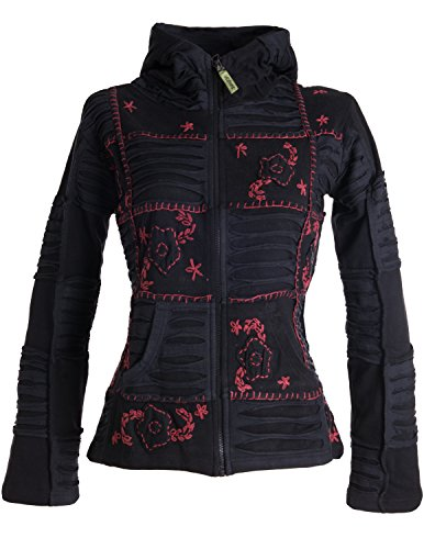 Vishes – Alternative Bekleidung – Mit Blumen bestickte Patchwork Jacke aus Baumwolle, mit Zipfelkapuze schwarz-dunkelrot 34