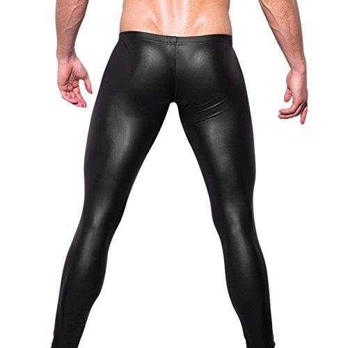 West See Herren Lederhose Leggings Stretch Pants Unterhose Tight WetLook Schwarz (DE S(Etikette M), Schwarz)