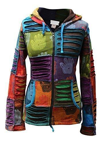 shopoholic Mode Damen Mehrfarbig Henna Hand Spitz Kapuzenpulli Verblichen Hippy Jacke - Mehrfarbig, L
