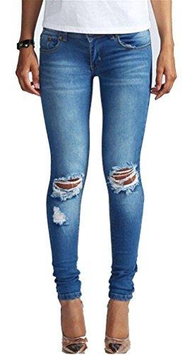 Brinny Damen Jeans Denim Hose Röhrenjeans Hüftjeans Rissen Destroyed Used Look