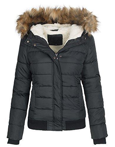 Damen Winter Stepp Jacke Winterjacke gesteppt Teddyfell warm gefüttert B445