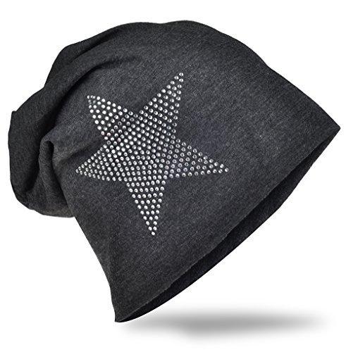 Jersey Slouch Beanie Long Mütze Stern mit Strass Applikation Unisex Unifarbe Herren Damen Trend