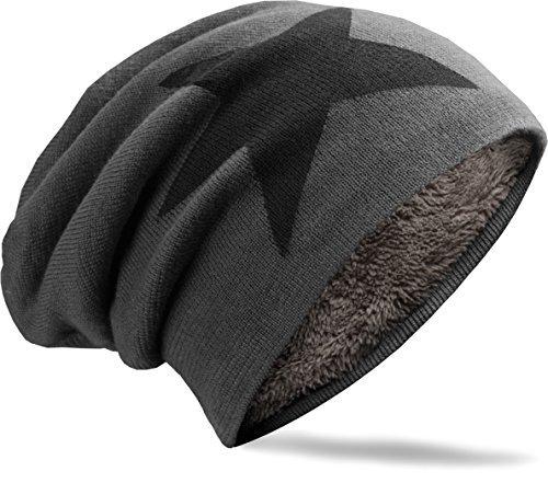 NavyBlu® unisex langes Slouch Beanie Mütze in Feinstrick mit Teddyfleece Innenfutter Stern M2