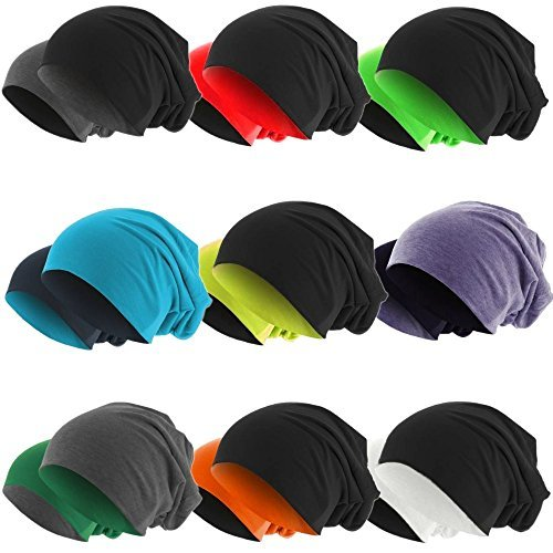 Slouch Long Beanie 2in1 Reversible Jersey Mütze in 44 Farben