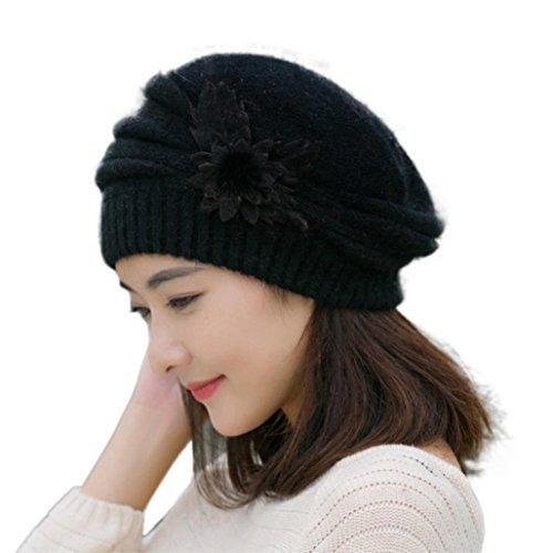 Strickmützen,Amlaiworld Damen Blume stricken Hut häkeln Beanie Mütze Winter Warm Cap Mütze