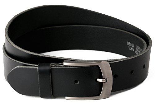 Vollledergürtel aus Büffelleder, 40mm breit und ca. 3-4mm stark, kürzbar, Gürtel, Ledergürtel, Jeansgürtel, von Fa.Volmer schwarz, #10125