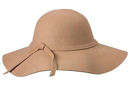 Yahee365 Weich Damen breite Krempe Glocke Hut Damenhut Schlapphut mit Retro Wolle Schleife Bowknot