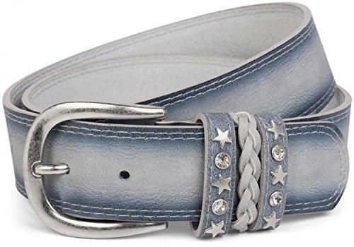 styleBREAKER Gürtel im Vintage Look mit Schmuckband an der Schließe, Ziehrnähte, Nieten, Strass, kürzbar, Unisex 03010062