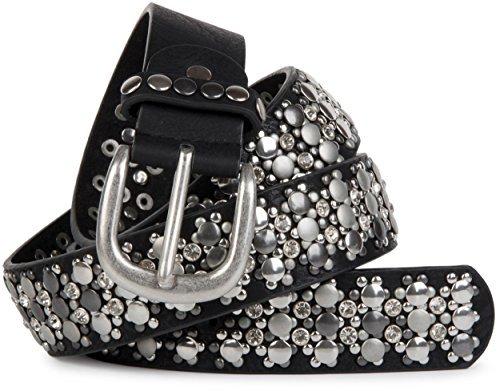 styleBREAKER edler Nietengürtel im Vintage Design mit echtem Leder, Nieten und Strass, kürzbar, Damen 03010052