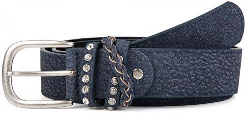 styleBREAKER gemaserter Gürtel im Vintage Look mit Schmuckband an der Schließe, Nieten, Strass, kürzbar, Damen 03010055