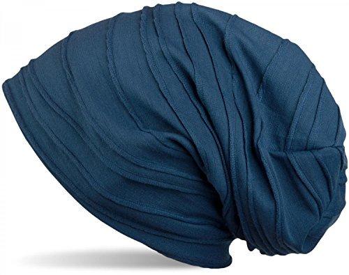 styleBREAKER klassische Beanie Mütze mit Falten Muster, Longbeanie, Unisex 04024053