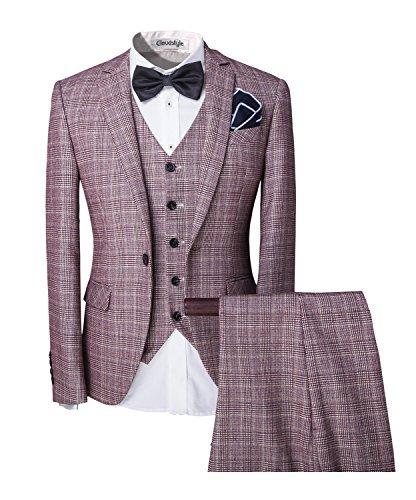 Elegant Herren 5-Teilig Anzug mit Weste + Handtuch+Fliege Hochzeit Party