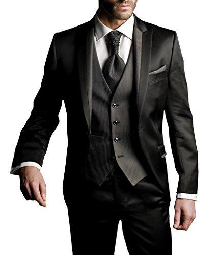 Suit Me Herren 3-Teilig Anzug Slim Fit Hochzeiten Party Smoking Anzuege Sakko,Streifen Weste,Hose