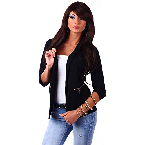 10744 Fashion4Young Damen Kurzjacke Blazer Jäckchen Jacke knopflos mit Reverse Gr.36/38