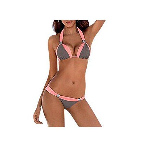 GWELL Damen Push Up Bikini Badeanzug M grau-rosa