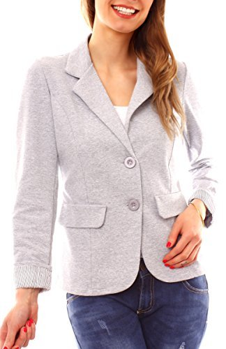 Easy Young Fashion Damen Jersey Blazer 7/8 Arm Ungefüttert