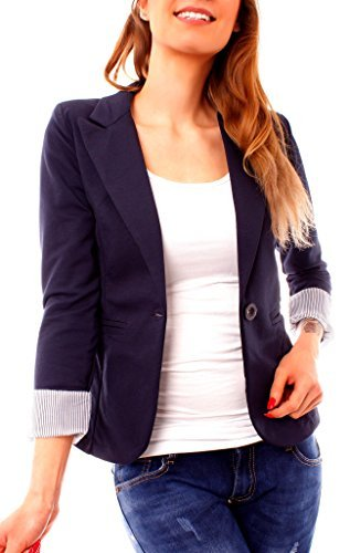 Easy Young Fashion Damen Jersey Blazer Jacke gefüttert 3/4-Arm