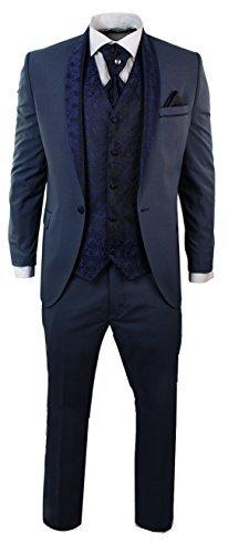 Herrenanzug Blau Smoking 5 Teilig Hose Weste Sakko Krawatte Und Handtuch Rund Schal Reverse