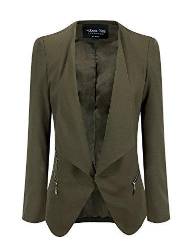 LookbookStore Damen Drapierter Langärmliger Blazer mit Vorne Offnung Seitentasche Einfarbig