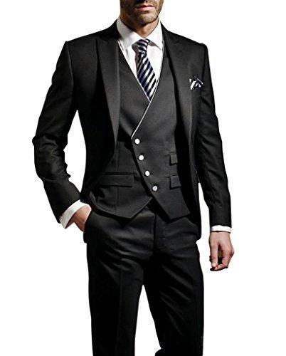 Suit Me Herren 3-Teilig Anzug Slim Fit Hochzeiten Party Smoking Anzuege Sakko,Weste,Hose