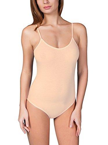 VEDATS Damen Body Spaghettiträger Top Unterhemd Bodysuit Rundhals Schwarz Weiß Hautfarben S M L XL
