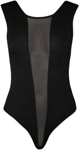 WearAll - Damen schwarze Mesh-Stretch-Trikot ärmellos top Body - schwarzen Design - Größe 36-42