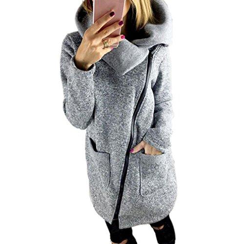IMJONO Mäntel Jacke Damen Wintermantel Winterparka Trenchcoat Outwear Mit Kapuze Hochwertigen (S, Grau)