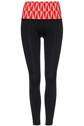 FIND Damen Nahtlose Sportleggings mit Geo-Print-Taillenbund