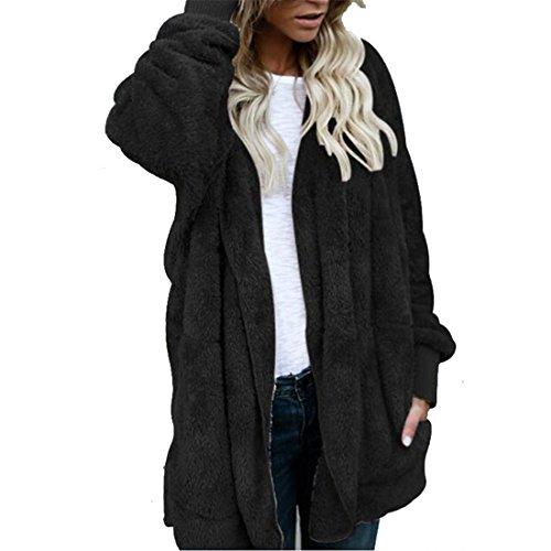 Damen Mantel ,FRIENDGG Frauen Mädchen Lange Jacke Langarm Hoodies Mode Lässig Täglich Parka Mit Kapuze Outwear Solide Kunstpelz Herbst Winter Warme Strickjacke Pullover Mantel (XL, Schwarz)