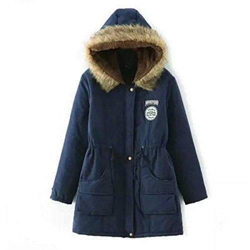 Frauen Warm Langer Mantel,FRIENDGG Damen Pelz Kragen Kapuzenjacke Dünner Herbst Winter Fester Parka Mode Lässige Taschen Outwear (M, Marine)