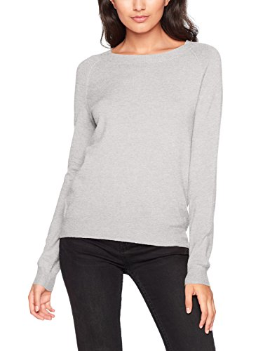 VERO MODA Damen Pullover Vmhappy LS O-Neck Blouse Boo Grau (Light Grey Melange), Small