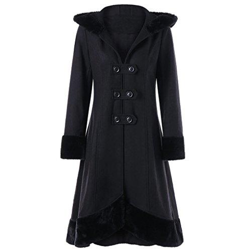 Lady Wintermantel Jacke&JYJMWarme JackeFrauen Warme Dünne Mantel Jacke Dicke Parka Mantel Lange Winter Outwear (XL, Schwarz)