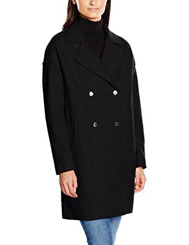 Tommy Hilfiger Damen Caban Mantel RIDER BOILED WOOL COAT, Gr. 40 (Herstellergröße: L), Schwarz (MASTERS BLACK 017)